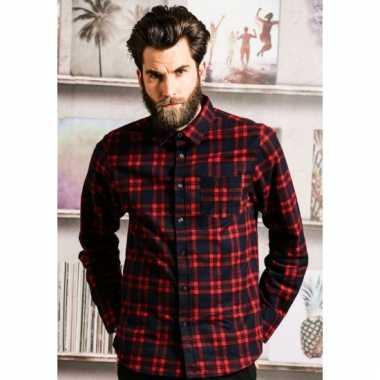 Heren houthakkers overhemd geblokt rood navy shirt