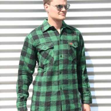 Heren houthakkers overhemd groen zwart shirt