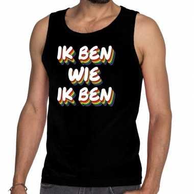 Heren ik ben wie ik ben gay pride tanktop/mouwloos shirt zwart he