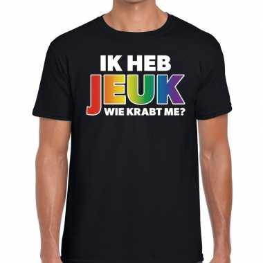 Heren ik heb jeuk wie krabt me? regenboog gaypride shirt zwart he