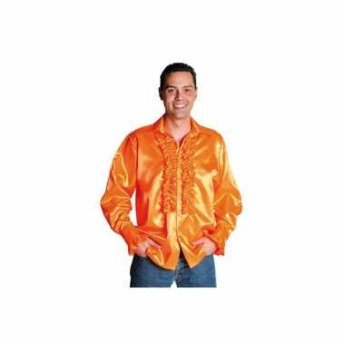 Heren  Luxe rouches blouse oranje shirt