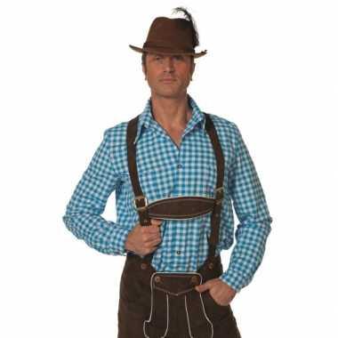 Heren oktoberfest blauw/witte tiroler blouse lange mouw shirt