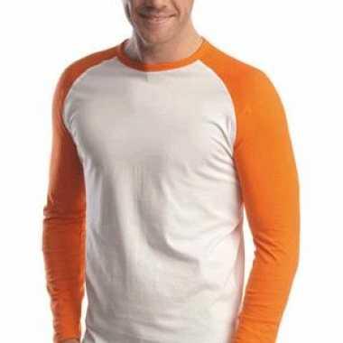 Heren  Oranje baseball t-shirt lange mouw