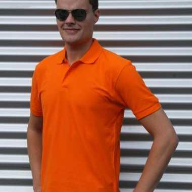Heren  Oranje poloshirt % katoen