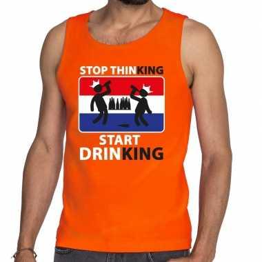 Heren oranje stop thinking start drinking tanktop / mouwloos shirt he