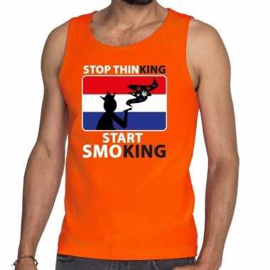 Heren oranje stop thinking start smoking tanktop / mouwloos shirt her