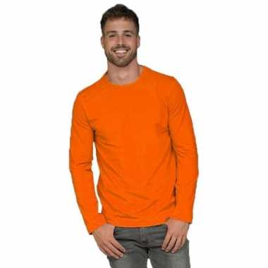Heren  Oranje t-shirt lange mouw