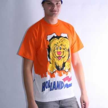 Heren oranje t shirt leeuw dubbel print