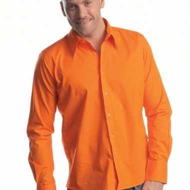 Heren overhemd oranje lange mouw shirt