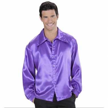 Heren paarse satijnen blouse shirt
