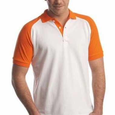 Heren  Poloshirts wit/oranje