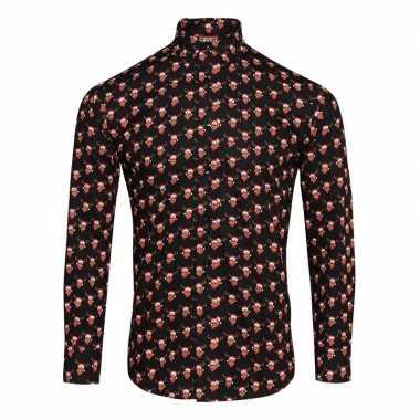 Heren rendier overhemd rendierfiguren zwart shirt