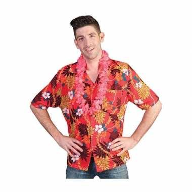 Heren rode hawaii blouse tropische print shirt