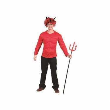 Heren rood gespierd duivel shirt volwassenen