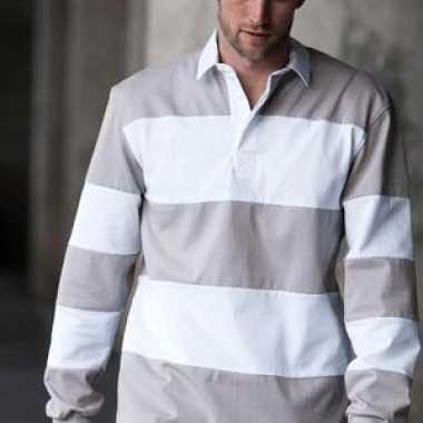 Heren  Rugby shirt grijs wit gestreept