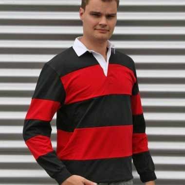 Heren  Rugby shirt zwart rood