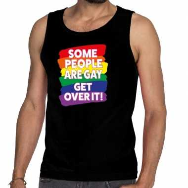 Heren some people are gay get over it gay pride tanktop/mouwloos shir