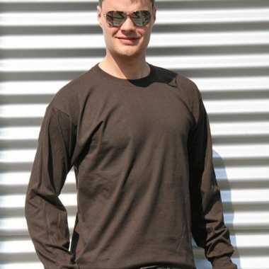 Heren t-shirt lange mouw bruin