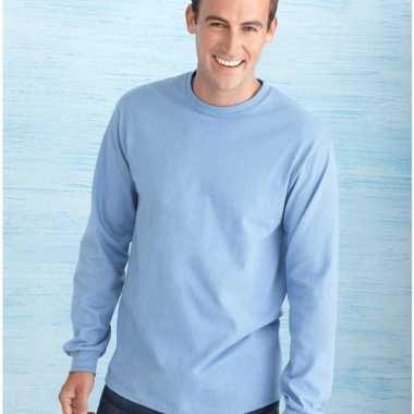Heren t-shirt lange mouw lichtblauw