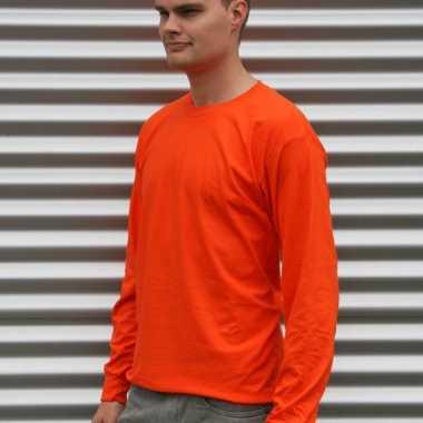 Heren t-shirt lange mouw oranje