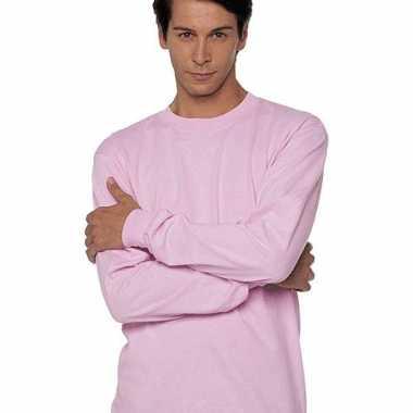 Heren t-shirt lange mouw roze
