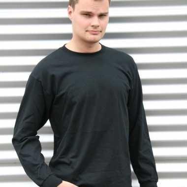 Heren t-shirt lange mouw zwart