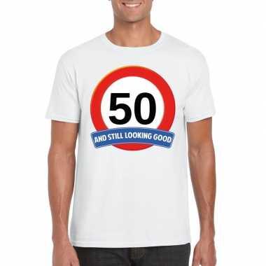 Heren verkeersbord jaar t shirt wit volwassenen
