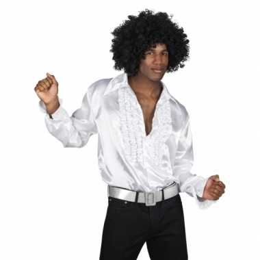 Heren witte rouche blouse shirt