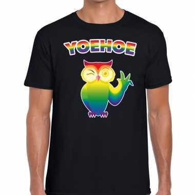 Heren yoehoe gaypride knipogende regenboog uil t shirt zwart here