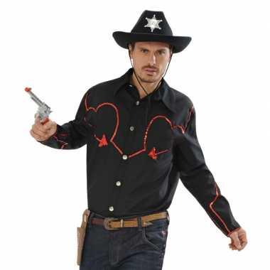 Heren zwart cowboy shirt rode glitters
