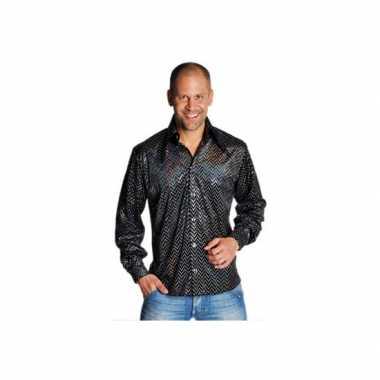 Heren  Zwart disco overhemd glitters shirt