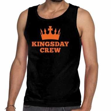 Heren zwart kingsday crew tanktop / mouwloos shirt voor
