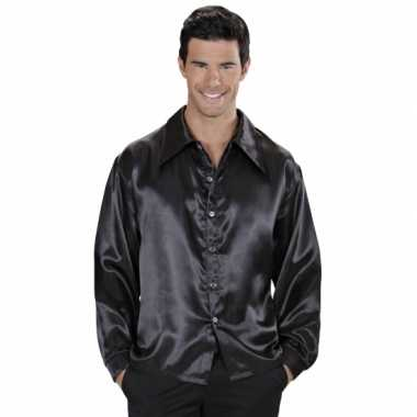 Heren zwarte satijnen blouse shirt