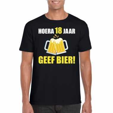 Hoera jaar geef bier t-shirt zwart heren