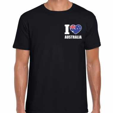 I love australia t shirt australie zwart borst heren