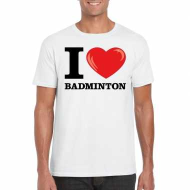 I love badminton t shirt wit heren