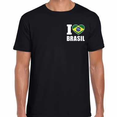 I love brasil t shirt brazilie zwart borst heren