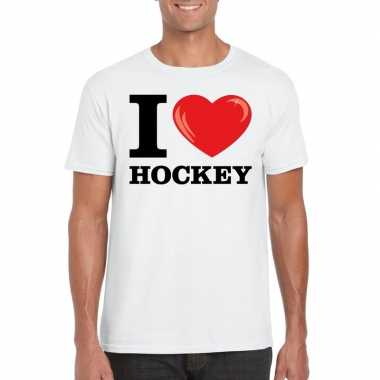 I love hockey t shirt wit heren