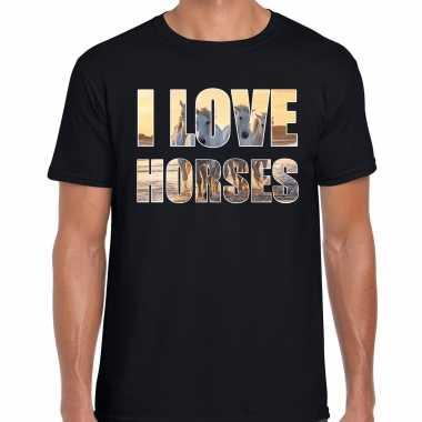 I love horses paarden dieren t-shirt zwart heren