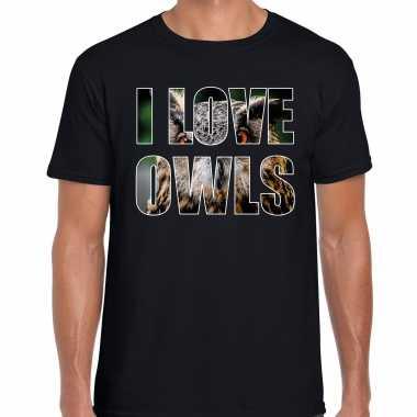 I love owls uilen t-shirt zwart heren