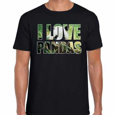 I love pandas t-shirt zwart heren