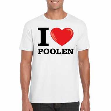 I love poolen t shirt wit heren