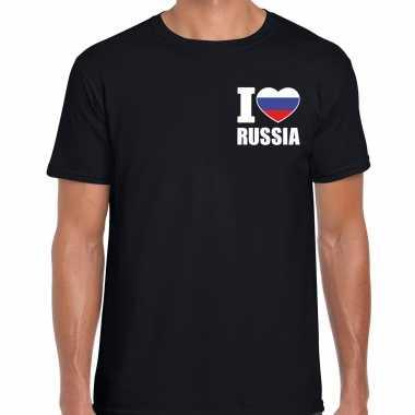 I love russia t shirt rusland zwart borst heren