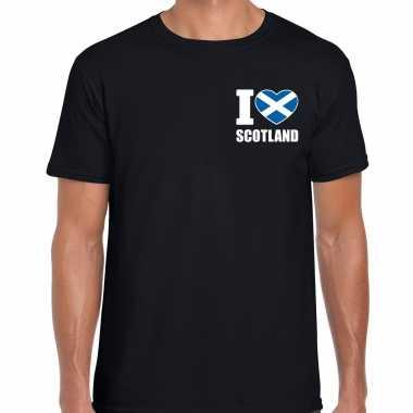 I love scotland t shirt schotland zwart borst heren