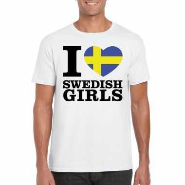 I love swedish girls t shirt wit heren