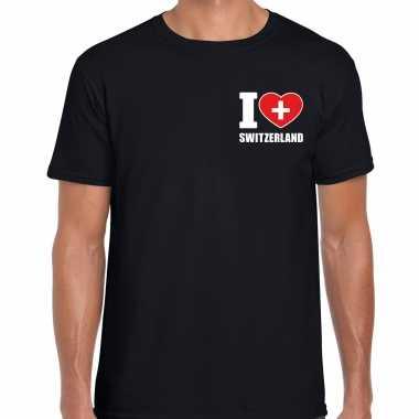 I love switzerland t shirt zwitserland zwart borst heren