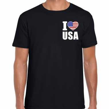 I love usa t shirt amerika zwart borst heren