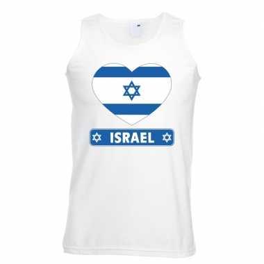 Israel hart vlag singlet-shirt tanktop wit heren