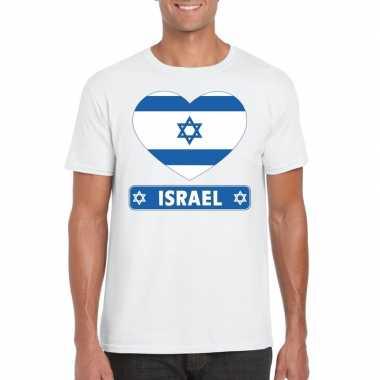 Israel hart vlag t-shirt wit heren