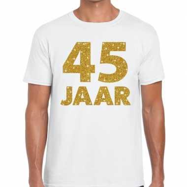 Jaar goud glitter verjaardag/jubileum kado shirt wit heren
